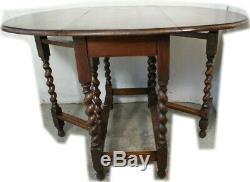 Antique Barley Twist MEDIUM Kitchen / Dining Drop Leaf Table Gate Leg Tiger Oak