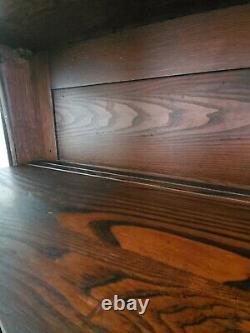Antique Bow Front Tiger Oak Veneer China Cabinet