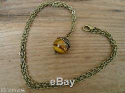 Antique Bronze Acorn Pendant necklace 20 wicca pagan tigers eye oak tree
