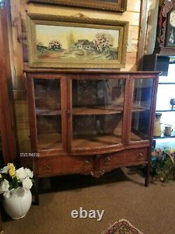 Antique Buffet / Sideboard Tiger Oak with Curved Bow Glass Front