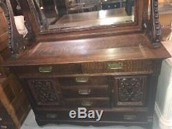 Antique C. 1880 Era 19th Century RJ Horner Tiger Oak Server Buffet Lions Heads