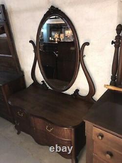 Antique C. 1890 Era Tiger Oak Princess Dresser/vanity Beveled Mirror