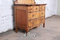Antique Carved Tiger Oak Dresser With Mirror, Circa 1900