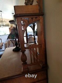 Antique Carved Tiger Oak Sideboard / Buffet / Bar Cabinet Detailed Scrolls