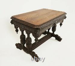 Antique Carved Tiger Oak Writing Table, Desk Green Man, Scotland 1880, B1792