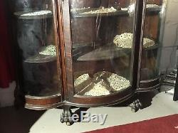 Antique China Curio Cabinet Carved Lions Claw Feet Tiger Oak Curved Glass Wheels