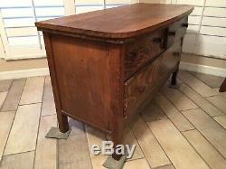 Antique Country Tiger Oak Wood Dresser Chest of Drawers Bedside Table