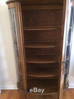 Antique Curved Glass Paw Foot Bookcase Tiger Oak Wood Armoire Curio Cabinet