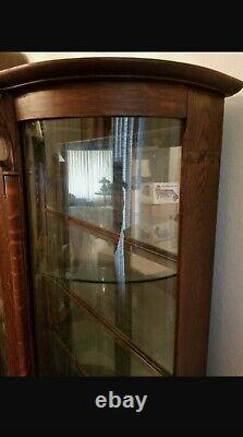 Antique Dark Oak Tiger Wood Lion Head Curved Glass Curio China Cabinet