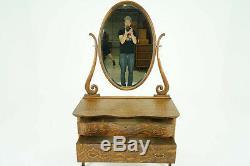 Antique Dresser Vintage Vanity Beveled Mirror, Oak B793
