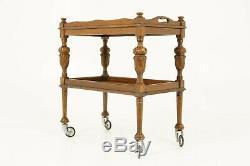 Antique Drinks Cart, Tea Trolley, Tiger Oak Trolley, Scotland 1930, B1722