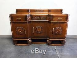 Antique English Art Deco Quartersawn Tiger Oak Sideboard / Bar