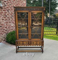Antique English Bookcase Jacobean Display Cabinet Barley Twist Tiger Oak c. 1930s