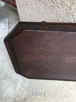 Antique English Carved Tiger Oak Octagon Frame Beveled Wall Mirror Greek Key