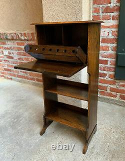Antique English Carved Tiger Oak Pipe Smoke Stand Cabinet Table Humidor Box