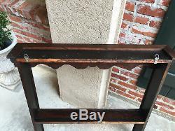 Antique English Carved Tiger Oak Plate Platter Wall Rack Display Shelf Kitchen