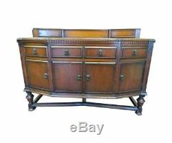 Antique English Carved Tiger Oak Sideboard Or Buffet With Figural Hardware