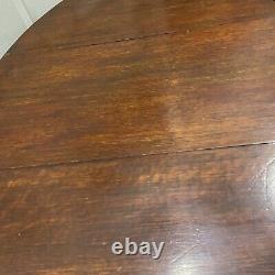 Antique English Dark Wood Drop Leaf and Barley Twist Gateleg Oval Table