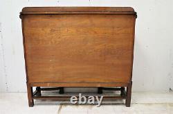 Antique English Elizabethan Tiger Oak Drop Front Secretary Desk With Bookcases