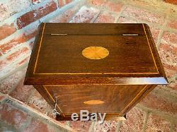 Antique English INLAID Tiger Oak Pipe Smoke Cabinet Game Box Humidor Copper