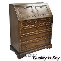 Antique English Jacobean Style Tiger Oak Wood Drop Front Secretary Desk