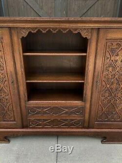Antique English Oak Bookcase Display Cabinet Gothic WIDE 74 Tiger Oak 1930s