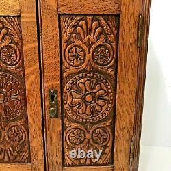 Antique English Ornate Hand Carved Tiger Oak Pipe/Tobacco Cabinet/Wall Hanging