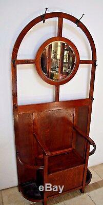Antique English Quarter Sawn Tiger Oak Mirrored Hall Tree Coat Rack seat Storage