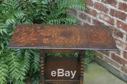 Antique English Table Bobbin Twist Drop Leaf Tiger Oak Square Occasional Table