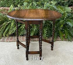 Antique English Table Drop Leaf Barley Twist Gateleg Tiger Oak Oval Nightstand