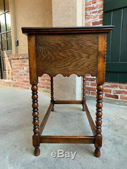 Antique English Tiger Carved Oak Hall Sofa Table Jacobean Style Brass Bobbin Leg