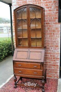 Antique English Tiger Oak Art Deco 2 Drawer Secretary Desk / Glass Door Bookcase