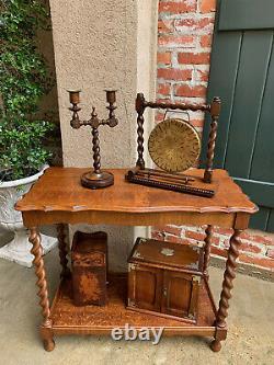 Antique English Tiger Oak BARLEY TWIST Dinner Desk Gong Brass Arts & Crafts