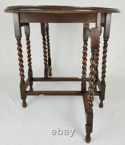 Antique English Tiger Oak Barley Twist Drop Leaf Side Sofa Table Oval Small