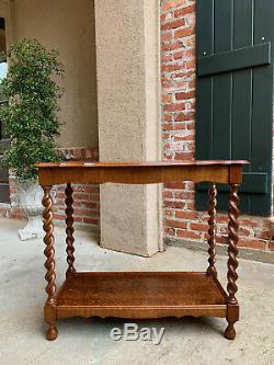 Antique English Tiger Oak Barley Twist Side Hall Table 2 Tier Jacobean style