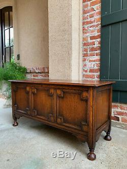 Antique English Tiger Oak Blanket Box Trunk Chest Bench Jacobean Toy Box Table