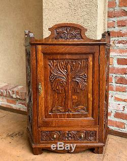 Antique English Tiger Oak Carved Cabinet Counter Wall Shelf Card Jewelry Box
