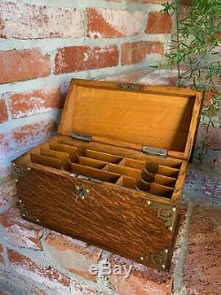 Antique English Tiger Oak Desk Letter Campaign BOX Brass Jewelry British