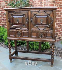 Antique English Tiger Oak Jacobean Tudor BARLEY TWIST Bar Cabinet Bookcase