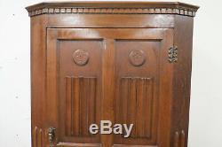 Antique English Tiger Oak Linen Fold Wardrobe With Interior Mirror