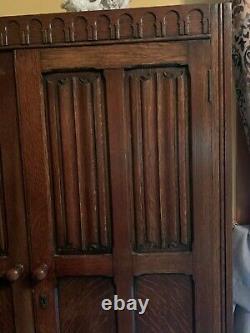 Antique English Tiger Oak Linen Fold Wardrobe or Armoire