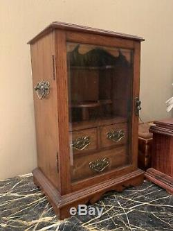 Antique English Tiger Oak Pipe Cabinet with Glass Doors