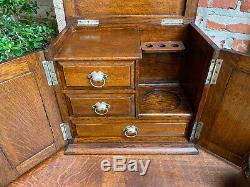 Antique English Tiger Oak Pipe Smoke Cabinet Card Game Box Humidor Lift Top