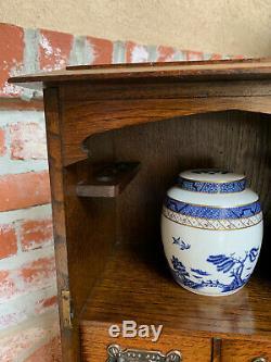 Antique English Tiger Oak Pipe Smoke Cabinet Game Card Box Humidor Glass Copper