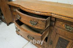 Antique English Tiger Oak Relief Carved Buffet or Sideboard With Radial Front
