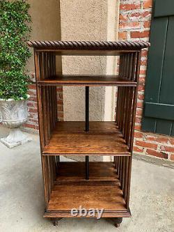 Antique English Tiger Oak Revolving Rolling Bookcase Bookshelf Arts & Crafts