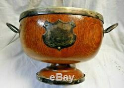 Antique English Tiger Oak & Silver Trophy/Awards / Presentation Serving Bowl