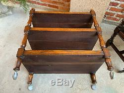 Antique English Tiger Oak Tea Trolley Cart Serving Table Rolling Coffee Tray