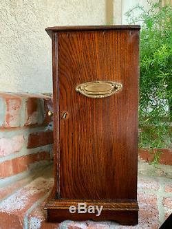 Antique English Tiger Oak w Glass Pipe Smoke Cabinet Game Card Box Humidor 1918