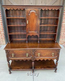 Antique English Welsh Plate Dresser Sideboard Server Buffet Jacobean Tiger Oak